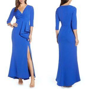 ELIZA J Cobalt Side Ruffle Faux Wrap Gown 2
